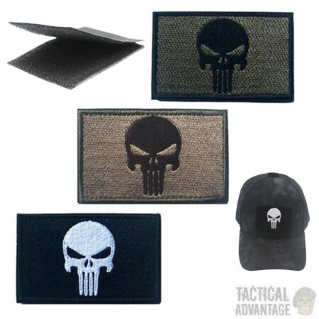 img-Punisher Skull Patch Morale Badge Tactical Airsoft Army Black OD Tan Cap UK