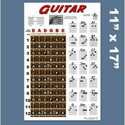 Kyпить Guitar Chord Wall Chart Fretboard Instructional Poster Beginner Chords Notes  на еВаy.соm