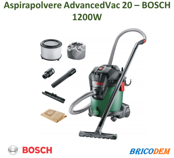 Bosch Home and Garden AdvancedVac 20 Aspiratore, 20/13.5 litri, Verde/Nero
