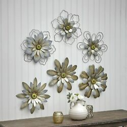 Kyпить Rustic Galvanized Metal Hanging Wall Flowers - Floral Indoor Accents - Set of 3 на еВаy.соm