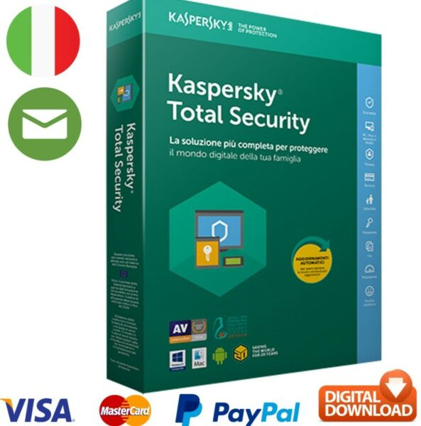 Kaspersky total security 2020 PC MAC licenza officiale ITALIA 1 ANNO 365 GIORNI