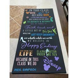 In This Classroom We Do Disney Custom Vinyl Canvas Sign  30x15 Made To Order