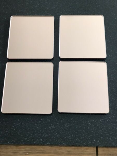 Rectangle Rose Gold mirror acrylic prosecco glass coasters champagne glass