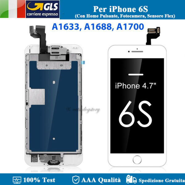Per IPhone 6S Bianco Schermo LCD Touch Screen Vetro Display Screen Completo IT