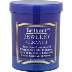 Brilliant 8oz Safe Jewelry Cleaner w/ Cleaning Basket & Brush   Gold Platinum
