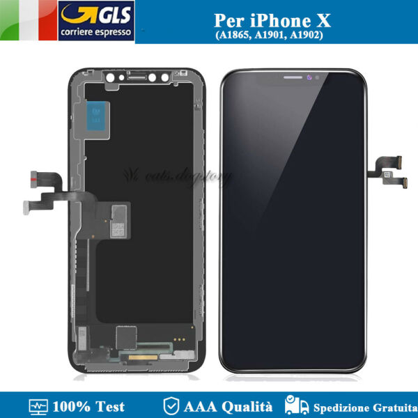 LCD DISPLAY PER APPLE IPHONE X TEN 10 SCHERMO VETRO CON FRAME TOUCH SCREEN NERO