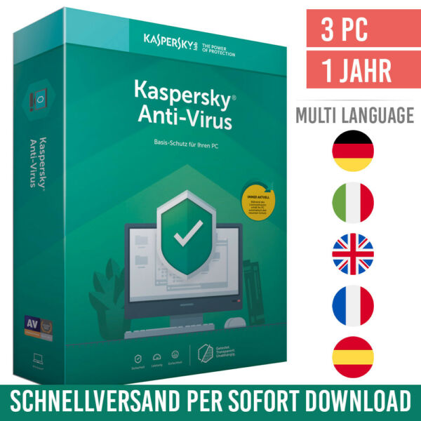 Kaspersky Anti-Virus 2020 - 3 PCs - 1 Jahr - Antivirus 2020 - ESD - Download Key