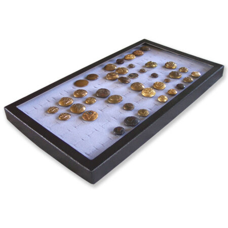 img-1 Glass Display Case Box Gray for 72 Victorian British French US WW1 WW2 Button