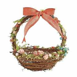 PIER1 EASTER LARGE CORAL BOW FLORAL BASKET BNWT