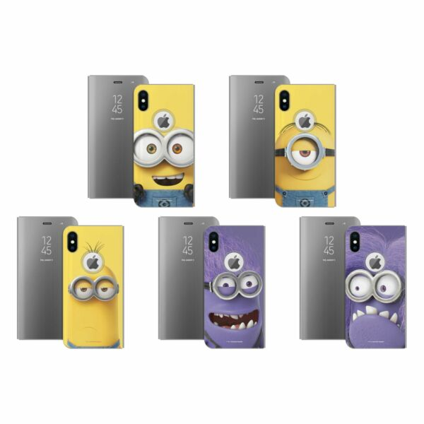 Royaume-UniDESPICABLE ME FULL FACE  SILVER MIRROR FLIP STAND COVER FOR iPHONE PHONES