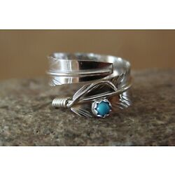 Kyпить Navajo Indian Handmade Sterling Silver Turquoise Feather Ring, Adjustable! на еВаy.соm