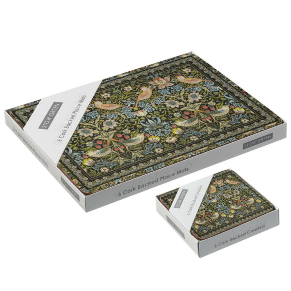Royaume-UniStow Green Fraise Thief Set de Table Et sous-Verre William Morris Design Tapis