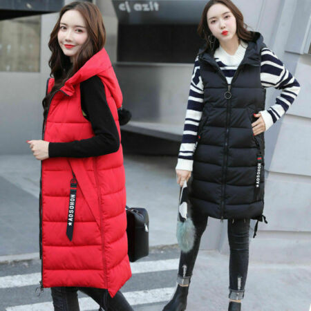 img-Women Cotton Vest Quilted Jacket Sleeveless Hooded Coat Long Waistcoat Winter
