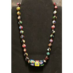 Kyпить VENETIAN GLASS BEAD NECKLACE - MILLIFIORI - COLLECTIBLE - VINTAGE - HAND KNOTTED на еВаy.соm