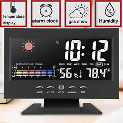 Kyпить Desk Digital Alarm Clock Weather Thermometer  LED Temperature Humidity Monitor на еВаy.соm