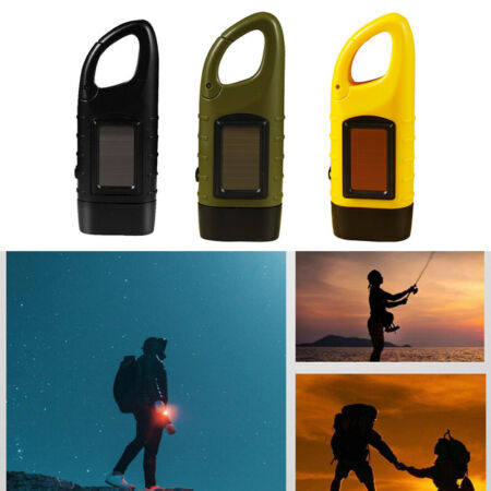 img-LED Solar Power Emergency Flashlight Hand Crank Wind Up Camping Torch Light ABS