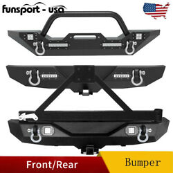 Kyпить Powder Coated Front / Rear Bumper w/ Led Lights for 2007-2018 Jeep Wrangler JK на еВаy.соm
