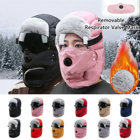 img-Russain Trapper Fur Windproof Hat Outdoor Winter Thick Warm With Valve Ski Cap