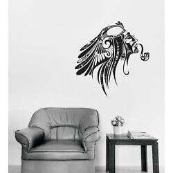 Vinyl Wall Decal Tattoo Style Sticker Head of Man Indigenous with Pipe (n1368)