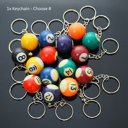 Kyпить 1x Billiards Table Pool Ball Keychain Cool Player Gift  - Choose Numbers 1-15  на еВаy.соm