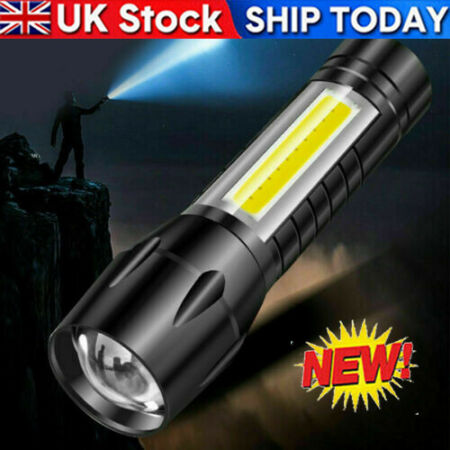 img-Outdoor LED Torch USB Rechargeable Flashlight Police Tactical Zoom Camping Lamp