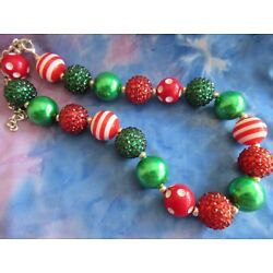 Kyпить Child's Christmas Bubblegum Beaded Necklace Christmas RED GREEN WHITE Necklace на еВаy.соm