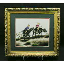 Kyпить CHINESE FINE EMBROIDERY - CHILDREN BOY & GIRL RIDING OXEN - FRAMED ARTWORK на еВаy.соm