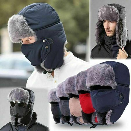 img-Mens Winter Earflap Warm Russian Face Mask Ski Cap Outdoor Aviator Trapper Hat