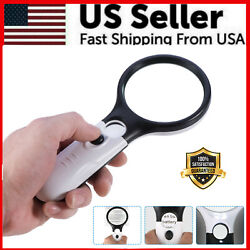 Kyпить 3 LED Light 45X Handheld Magnifier Reading Magnifying Glass Lens Jewelry Loupe на еВаy.соm