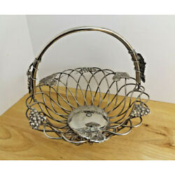 VTG Godinger Silver Plated Wire Basket with Grape Bunches and Grape Leaves Decor