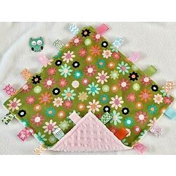 Kyпить Double Minky! Green Minky Flower & Pink Minky Tag Taggie Security Blanket, Baby на еВаy.соm