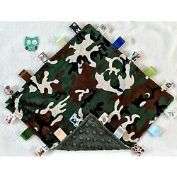 Kyпить Double Minky! Camo Army Camouflage Green Minky Tag Taggie Security Blanket Baby  на еВаy.соm