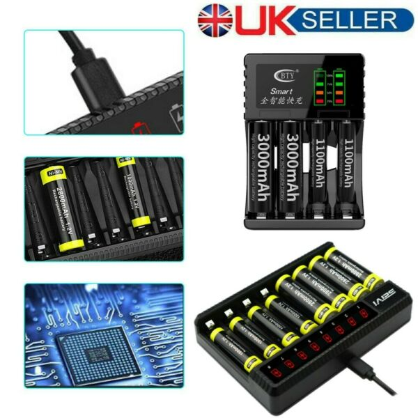 United Kingdom4/ 8 Slot Intelligent Battery Charger  For AA AAA C D Rechargeable Batteries