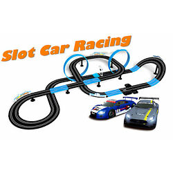 Kyпить 1/64 HO Slot Car Set Speed Chaser Road 28FT Racing Track Kit Kids Toy + Two Cars на еВаy.соm