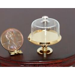 Dollhouse Miniature Cake Plate with Glass Cover by Clare Bell Brass