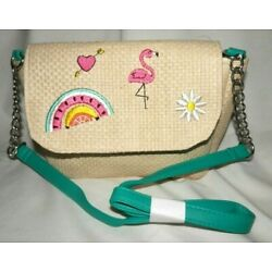 NEW CAPELLI NY STRAW PURSE W/EMBROIDERY DETAILS CHAIN&VINYL TURQ SHOULDER STRAP