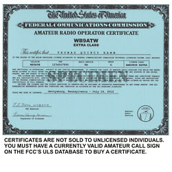 Kyпить Amateur Radio *Amateur Radio License Certificates* *Ham Radio*  на еВаy.соm