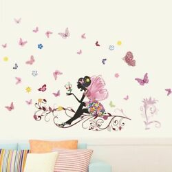 Wall Stickers Butterfly Flowers Fairy for Kids Room Wall Decoration Bedroom Home