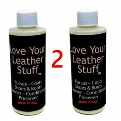 (2) Love Your Leather 4oz Cleaner Conditioner & Polish Boot & Shoes Coats Sofas