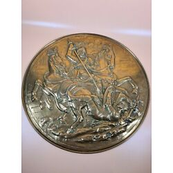 Kyпить Large Vintage Brass / Brass Plate Charger Wall Hanging Depicting A Battle Scene  на еВаy.соm