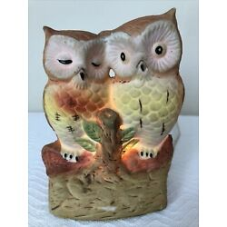Kyпить Vintage Ceramic Owl Lamp Light-Up Nightlight Loving Colorful 2 Owls on Log на еВаy.соm