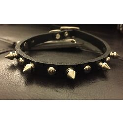 New Coastal Pet Products Premium Leather Black Dog Spiked Collar 12''