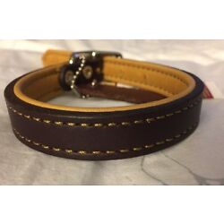 New Circle T Coastal Pet Products Brown/Yellow Leather Reversible Dog Collar 16''