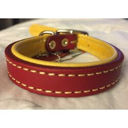 New Circle T Coastal Pet Products Premium Red/Yellow Leather Dog Collar 16''