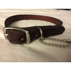 New Circle T Coastal Pet Products Premium Brown Leather Dog Collar 12''Stud Small