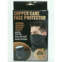 Copper Care Infused Face Protector & Neck Guard Mask Lightweight Washable Gray
