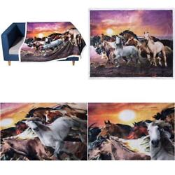 Kyпить 3D Wild Horses Print Throws Blanket Comfort Warmth Soft Cozy Blanket Fleece Blan на еВаy.соm
