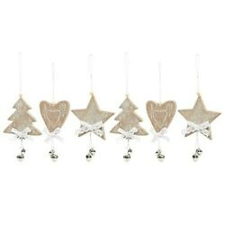 Kyпить Mini Wooden Heart, Star and Christmas Tree Ornaments with Embellishments, 6 Pack на еВаy.соm
