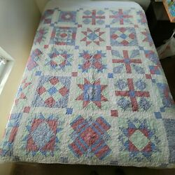 Kyпить Hand Pieced Machine Sewn & Quilted 67x67 Quilt Pinks Blues Calicos 2001 Signed на еВаy.соm