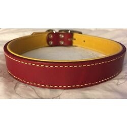 New Circle T Coastal Pet Products Premium Red/Yellow Leather Dog Collar 22''